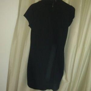 Black cotton mandarin collar neck dress